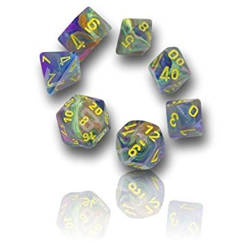Custom & Unique {16MM Medium Size} 7 Ct Pack Set of [D4, D6, D8, D10, D12, D20] Opaque Playing & Game Dice w/ Shiny Swirled Marbled Festive Rio Festival Design for Role Playing RPG Dungeon & Dragon [Purple, Orange, Blue, Pink, Green, & Yellow]