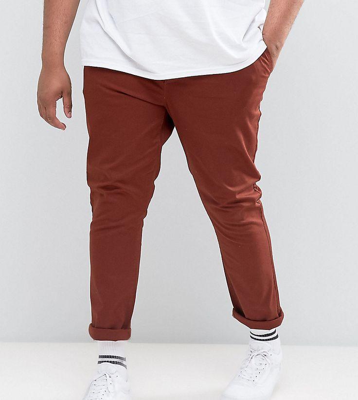 ASOS PLUS Skinny Chinos in Rust - Brown