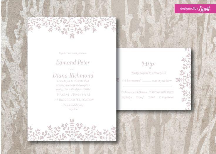 Lace Fl Wedding Invitation Digital Printable Set Custom