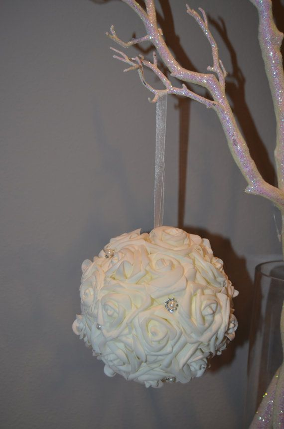 Real touch foam rose ivory flower ball with bling pearl