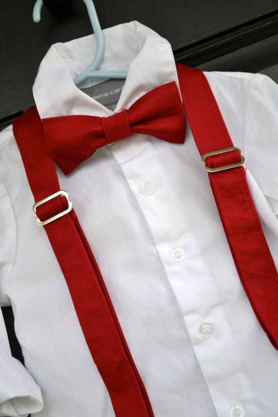 Solid Red Bowtie Bow Tie and Suspender Set Baby / Toddler /