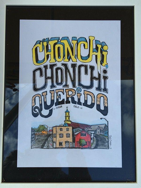 Parte 2 de dibujos con caligrafía y lettering realizados para venta y exposición en el contexto del Archipiélago de Chiloé, Chile, con dichos populares y paisajes urbanos reconocidos.