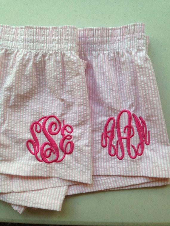 Monogrammed Pink Seersucker Women's Pajama Shorts - Boxers