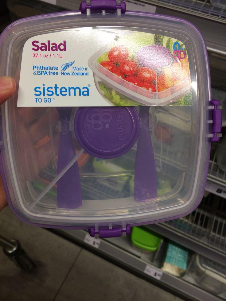 Saladebakje met bestek. Oa van Sistema (bv bij jumbo food markt te koop)