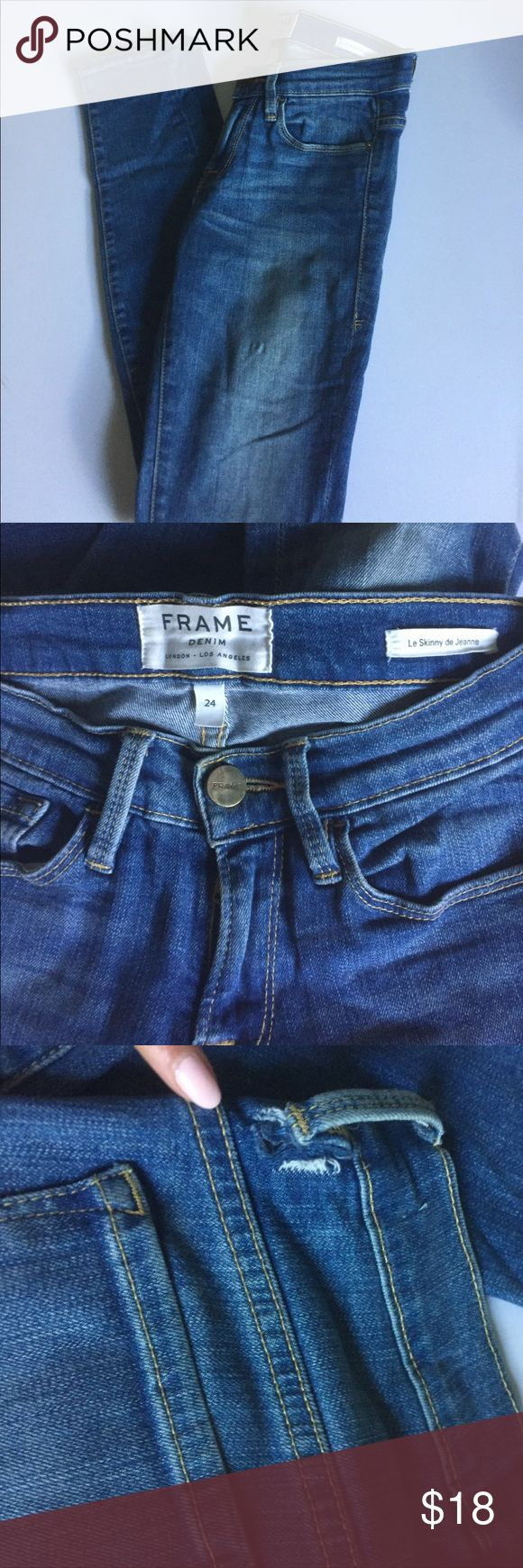 Frame Le Skinny De Jeanne These are used. I love love love these jeans. The belt loop is torn (this is a cheap and easy fix) and there is also some stretching which is not noticeable at all when you put them on. No other flaws and all flaws are pictured. Frame Denim Jeans Skinny