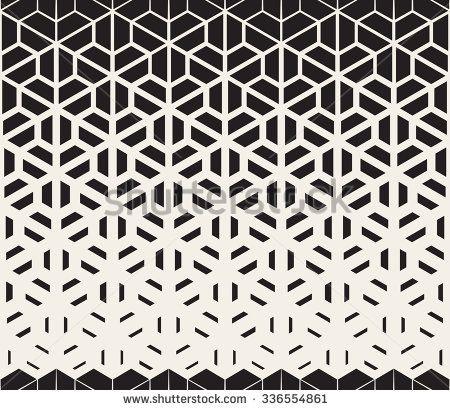 Vector Seamless Black and White Hexagon Triangle Split Lines Halftone Gradient P… – Tattoo vorlagen