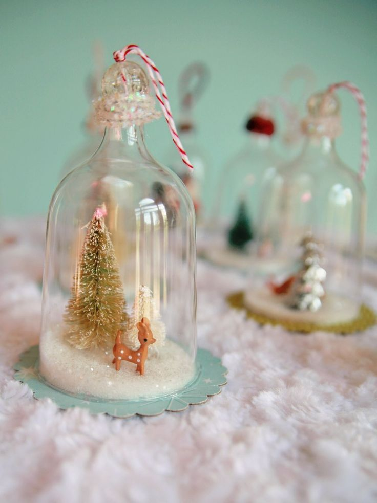 snow globes out of plastic wine glasses - vintage inspired bell jar