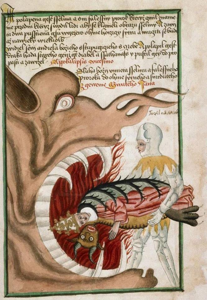 Pope Eater Hellmouth, Antithesis Christi et Antichristi (Jenský kodex/Jena Codex), Bohemia ca. 1490-1510 (Praha, Knihovna Národního muzea, IV.B.24, fol. 80r)