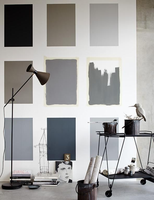 Color blocks for accent walls. Love the idea and the color scheme.