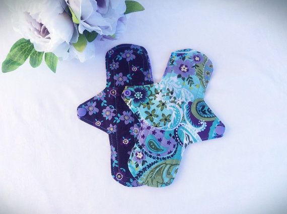 Washable Modern cloth pads set of 2 pick your flow by MyIndieKids