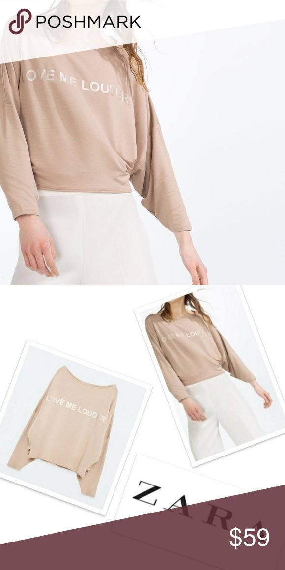 *RARE* ZARA Love Me Louder Top Brand new with tags, never worn. Batwing top. Light pink. Zara Tops