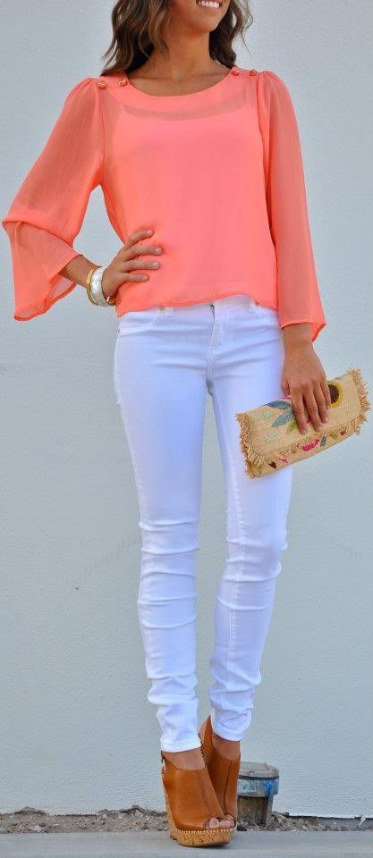 hot summer outfit: Shoes, White Skinny, Summer Outfit, Color, White Pants, Spring Outfit, White Jeans, Coral Tops, Summer Clothing