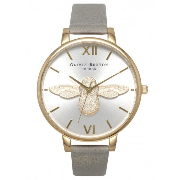 Olivia Burton Moulded Bee Watch - Grey, Gold & Silver (£135) ❤ liked on Polyvore featuring jewelry, watches, gold jewelry, gold strap watches, grey watches, gold wristwatches and yellow gold watches