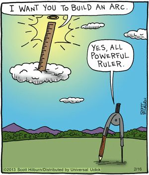As long as it's not a paraboloid - or the two of them would be helpless (non-Euclidian surfaces). More discussions of mathematical humor at http://www.naturalmath.com/tag/humor/