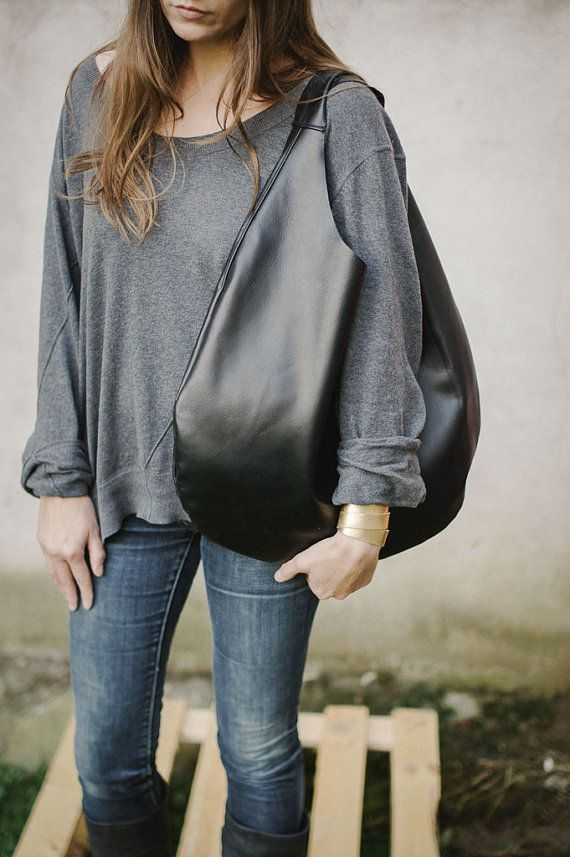 Black Leather Hobo Bag every day bag tote bag door PatkasBerlin, $190.00