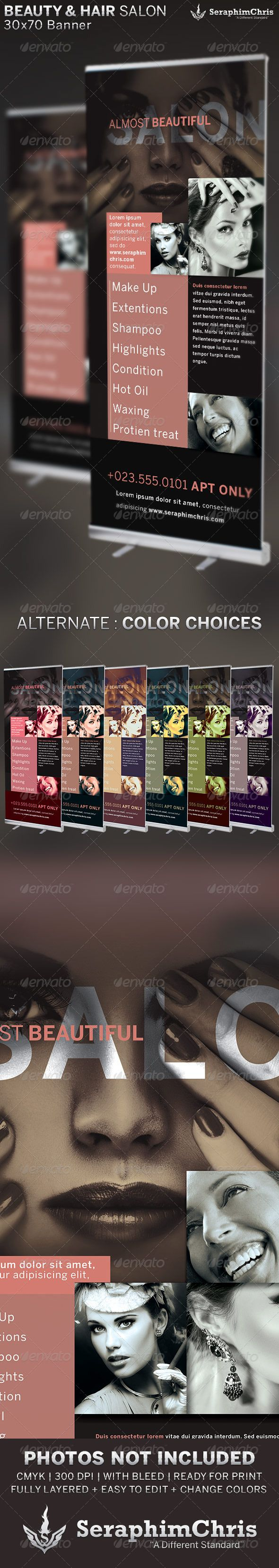Beauty and Hair Salon Banner Template is designed for startups, small businesses...