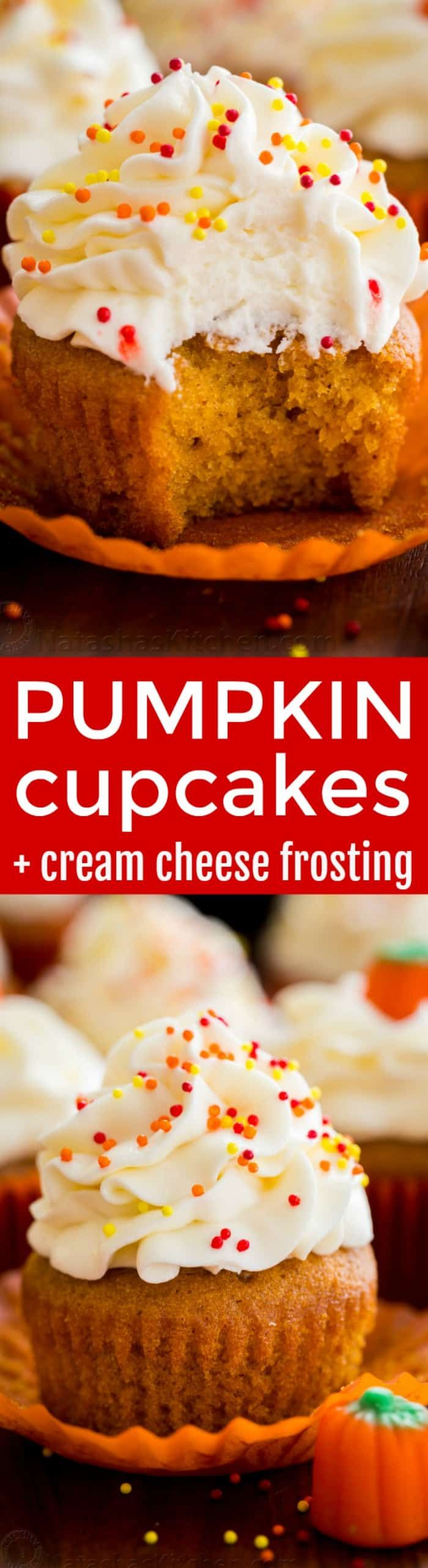 The only pumpkin cupcakes recipe you need! Moist, melt-in-your mouth soft pumpkin cupcakes. Cream cheese frosting is easy and tastes like marshmallow cream #pumpkincupcakes | natashaskitchen.com