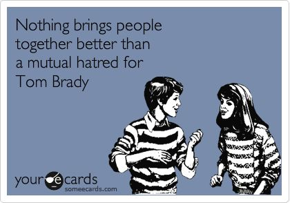Nothing brings people together better than a mutual hatred for Tom Brady | Sports Ecard #BeatThePatriots