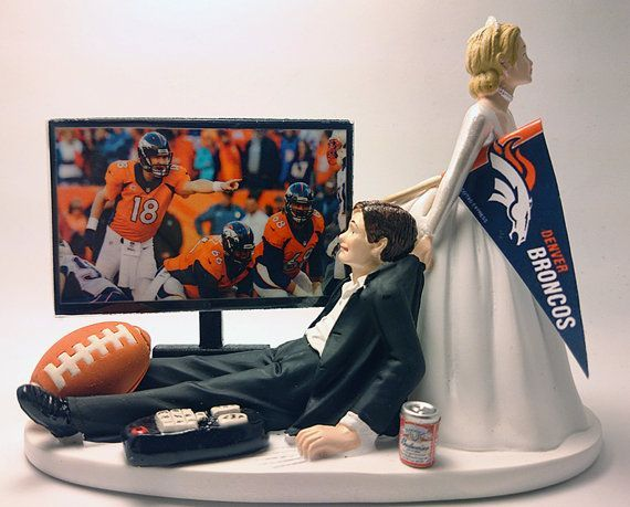 Football Denver Broncos Funny Wedding Cake by Pieceofcaketoppers4u  sports save the dates, baseball save the dates #wedding #sports