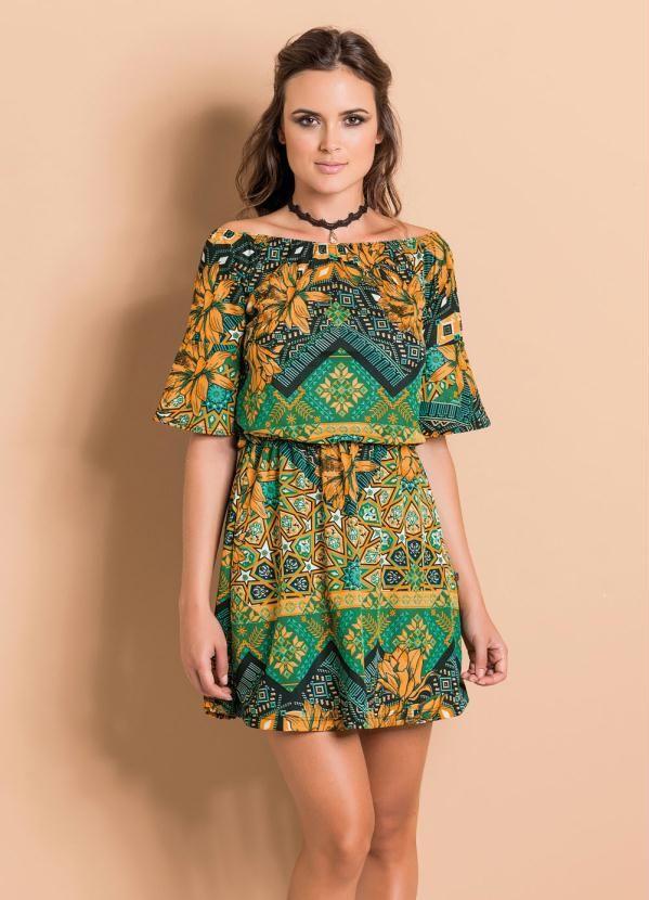 f88cec9c2 Vestido Ciganinha Étnico e Floral com Mangas 3/4 - Compre em até 5X sem