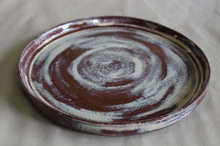 Ceramic Plate, Serving Dish, Pottery, Handmade, Wheel Thrown, Brown, Cream, Unique, Housewarming Gift, Decorative, by CoteClayworks on Etsy https://www.etsy.com/listing/522835849/ceramic-plate-serving-dish-pottery