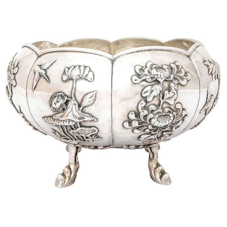 Chinese Export Silver Bowl | From a unique collection of vintage silver bowls at https://www.1stdibs.com/jewelry/silver-flatware-silverplate/silver-bowls/
