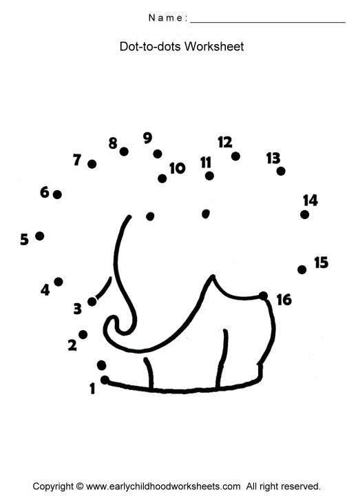 Dot To Dot 1 50 Worksheets : Prikker elefant regning prikk til