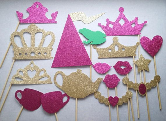 Royal Tea Party Glitter Photo Booth Props by CleverMarten on Etsy