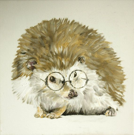 Scholarly Hedgehog original painting by blairblambert, ON SALE now only $25.00