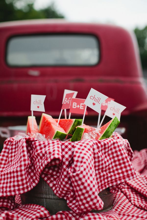 Sweet summer watermelon to cool guests off   Photo by Kristyn Hogan   #CedarwoodWeddings