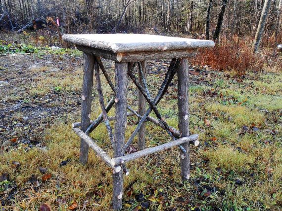 Rustic Cedar Twig End Table with Pine top by logcabindecor on Etsy