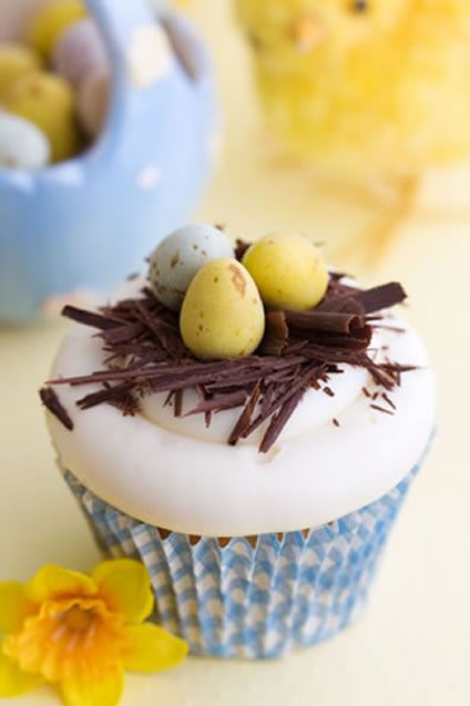 "School holiday parties are something every kid looks forward to and Easter cupcakes are a unique little take to school treat. Make them a set of cupcakes they will never forget topped with chocolate ""twigs"" and candy eggs for good measure. Do not be intimidated by the images, these are really not that difficult to put together."