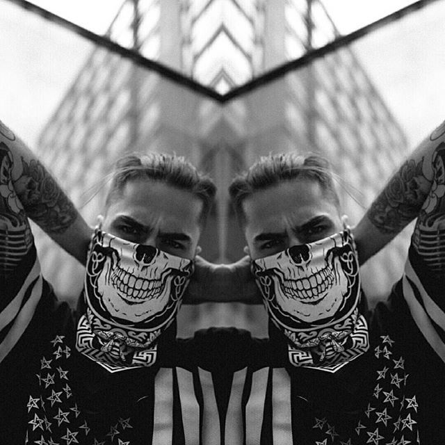 """Death Mandala"" Bandana & ""Americunt"" Striped Mesh Tee available at www.crmc-clothing.co.uk  Model - @jordanjcthomas Photography by @jt14photography ✉️ Free shipping on all UK orders over £60, international orders over £150 