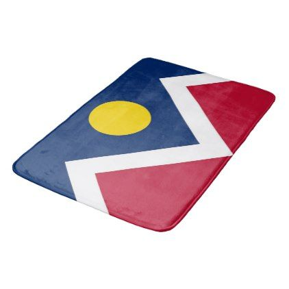 Large bath mat with flag of Denver USA - cool gift idea unique present special diy