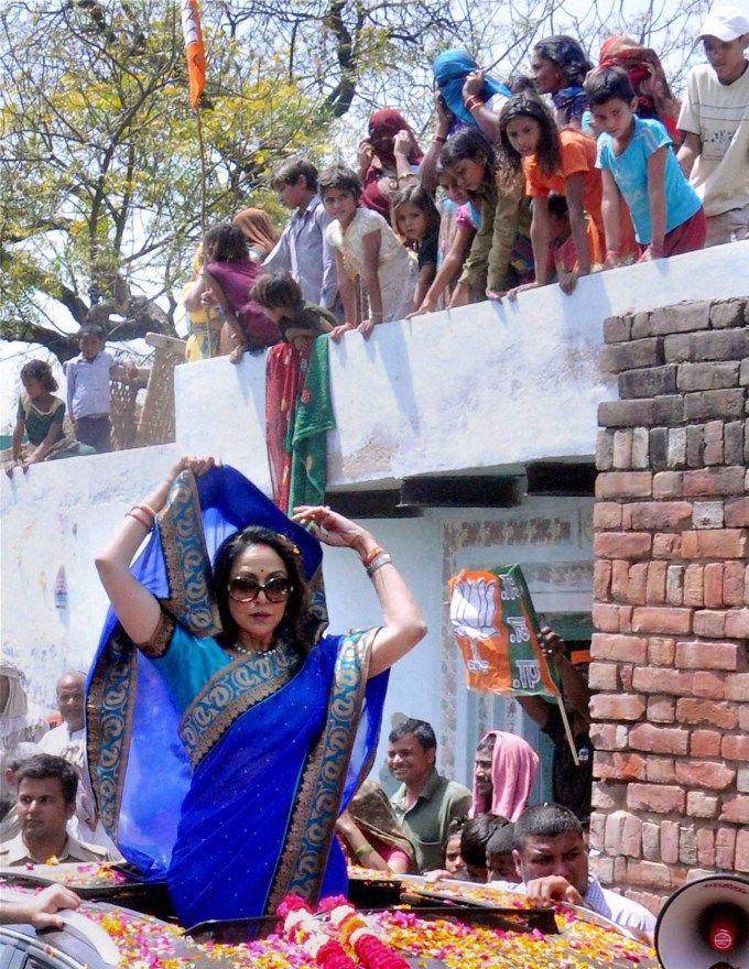 Hema Malini during an election campaign in Baldev near Mathura