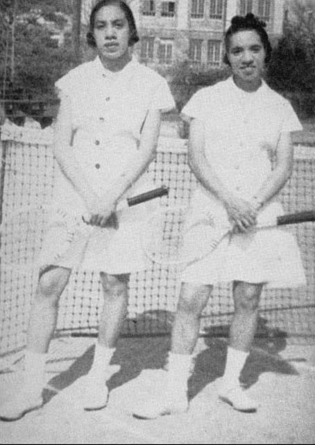 "Before the Williams Sisters - Margaret and Matilda Peters, affectionately known as 'Pete"" and Repeat'. The Peters made history with their doubles record from the 1930s to the 1950s. At a time when African Americans were not allowed to compete against whites, the Peters sisters played in the American Tennis Association, which was created specifically to give blacks a forum to play tennis competitively. Inducted into the USTA's Mid-Atlantic Section Hall of Fame in 2003.:"