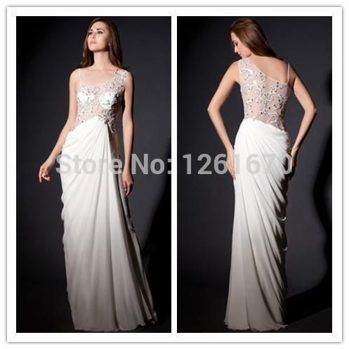 Find More Vestidos de Noche Information about encaje nueva llegada 2014 de fiesta un hombro vestidos lentejuelas cubiertas piso  longitud gasa vestidos evenng elegante vestidos de celebridades,High Quality Vestidos de Noche from Happiness  Wedding  Dress on Aliexpress.com