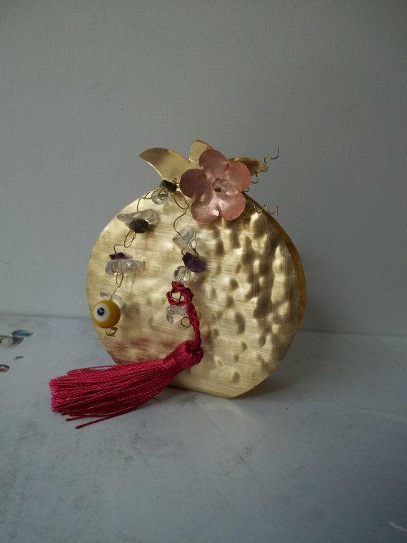 Handmade hammered brass pomegranate lucky charm by ePandora
