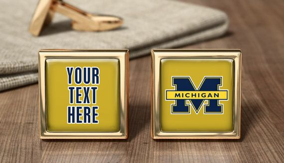 University of Michigan Cufflinks - Wolverines Cuff Links - Wolverines Fan Gift - Wolverines Present - American NCAA Football Team Cufflinks