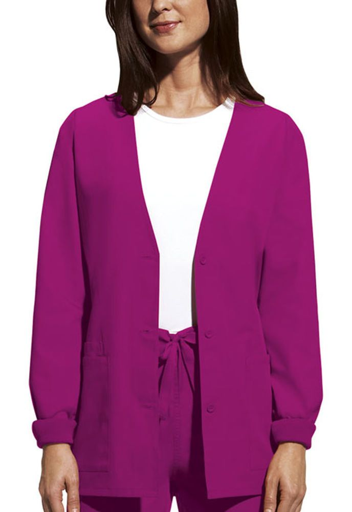 ee56393bf7e eBay #Sponsored NWT 5Xlarge Raspberry Cherokee Scrubs Workwear Cardigan  Jacket 4301 RASW