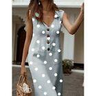 Frauen Sommer Dot Print Boho Turn-down V-Ausschnitt ärmellose Taste Tasche Kleid #D ...