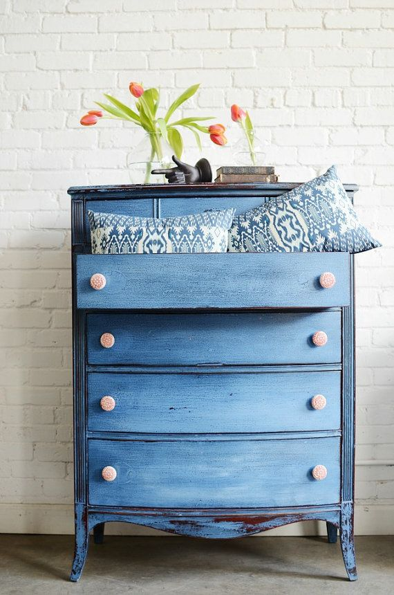 Tall, hand painted, red and blue chest of drawers- Torelli