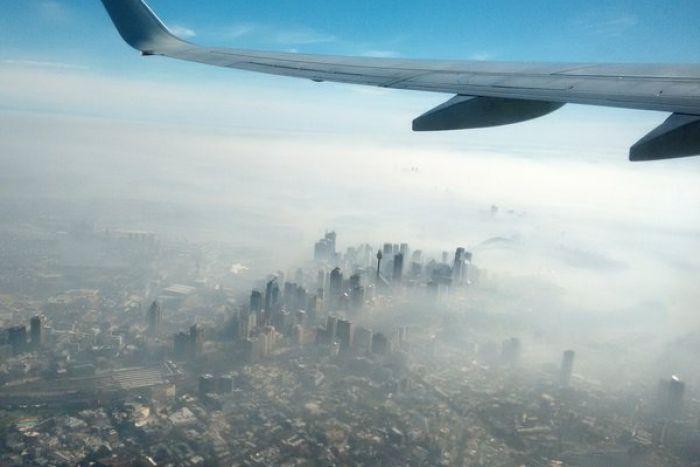 Aerial view of smoke shrouding the Sydney CBD