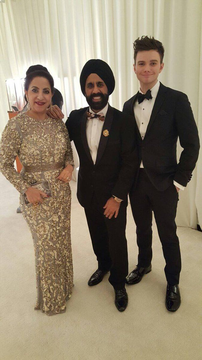 Mac & Bubbly Duggal with Emmy-nominated and Golden Globe winning American actor, Chris Colfer.