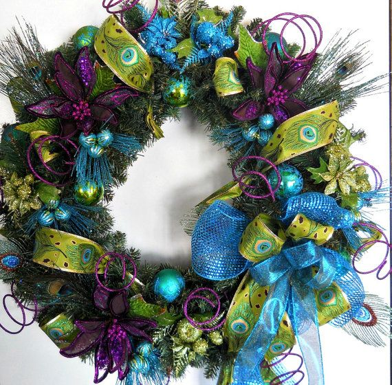 Gorgeous Holiday Christmas Wreath - Peacock Colors and Feathers - Rich Purple Flowers