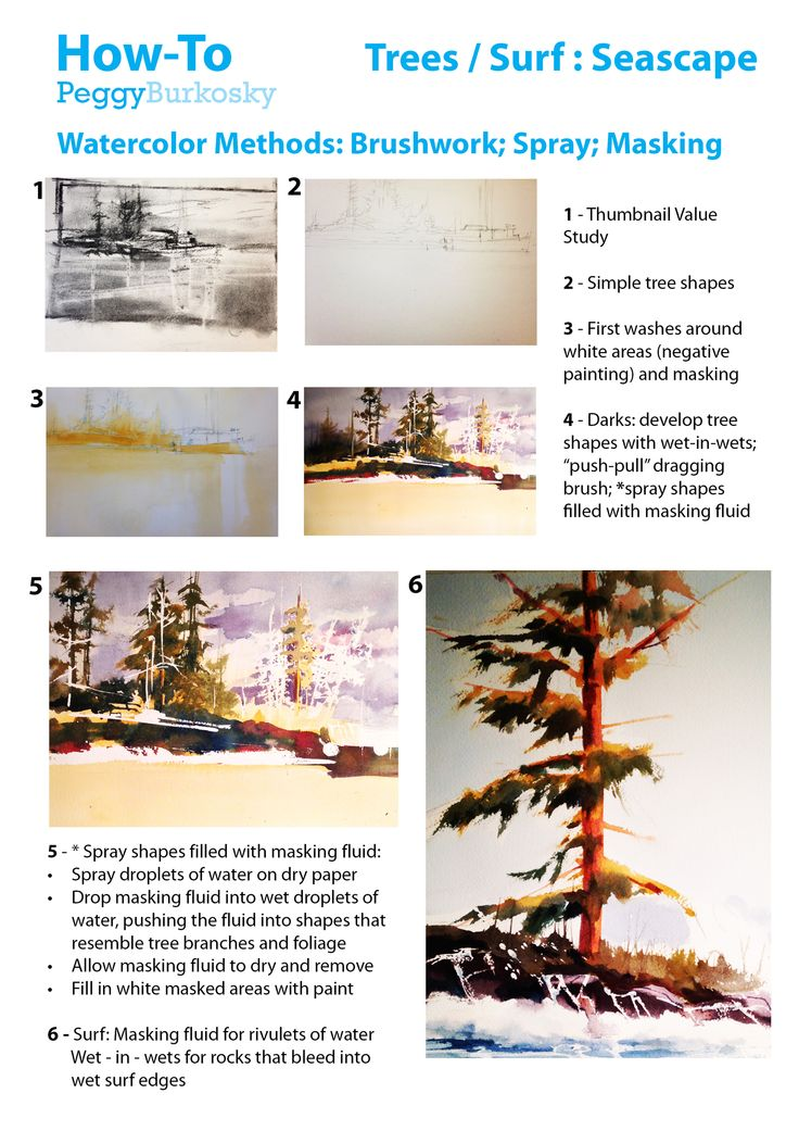 We are attracted to the spontaneity of watercolor as it splashes and evokes a sense of water and movement - several methods describe this through brushwork