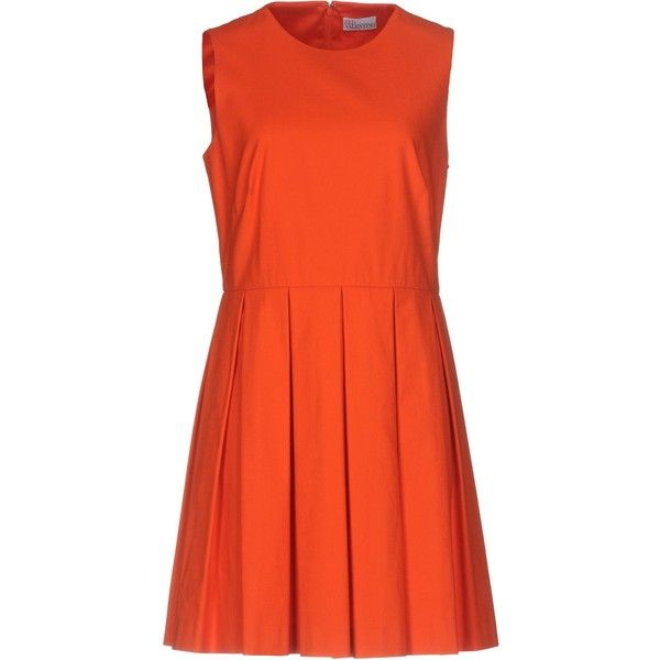 Redvalentino Short Dress ($630) ❤ liked on Polyvore featuring dresses, orange, mini dress, orange mini dress, orange sleeveless dress, short flared dresses and stretch mini dress