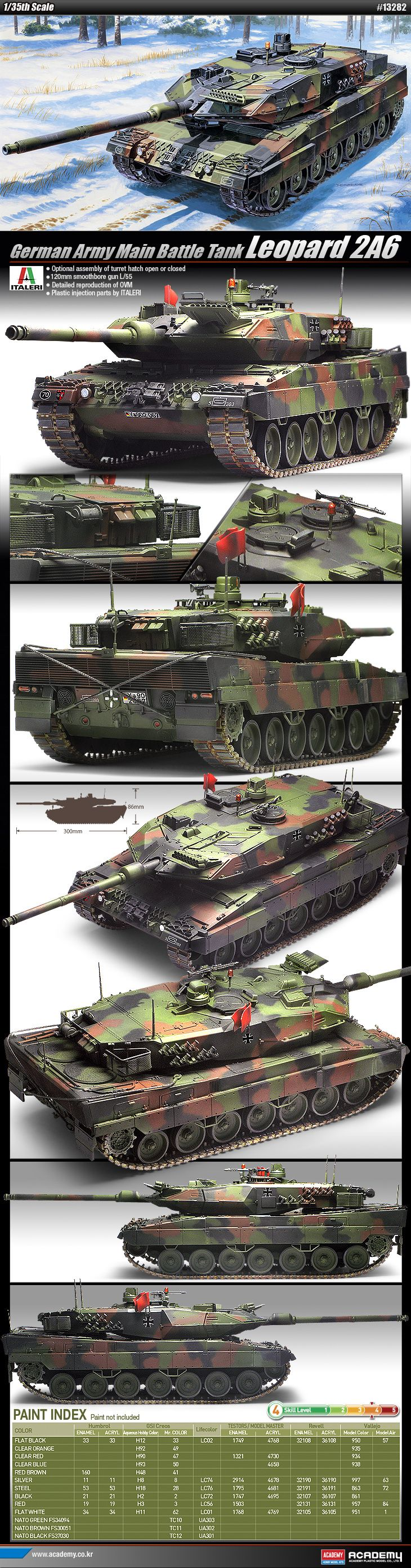 german mbt revolution model kit | ... Plastic Model Kits 1/35 LEOPARD 2A6 German Army MBT Battel Tank #13282