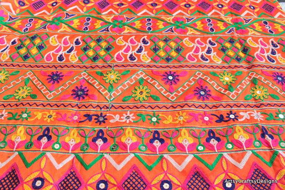 Half Yd-Multi Colored Embroidered Poly Silk Fabric-Wedding Lehenga, Skirts-Table Runner-Embroidered Bags-Crazy Quilt-Indian Silk-Sari Fabric