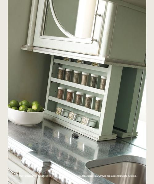 Spruce Up Your Kitchen With These Cabinet Door Styles: Habersham Home // Drop-Down Spice Rack